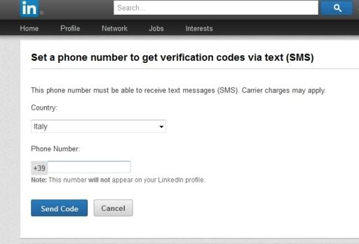 Linkedin registra cellulare