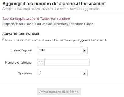 Twitter registra cellulare